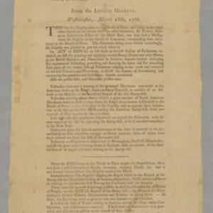 Glorious News. Boston, Friday 11 o'Clock, 16th May 1766.