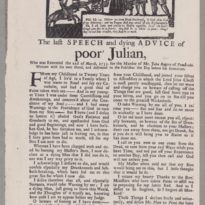 The last Speech and dying Advice of poor Julian, Who was Executed the 22d of March, 1733. for the Murder of Mr. John Rogers of Pembroke.