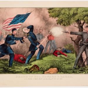 Death of Col. Edward D. Baker, at the Battle of Balls Bluff