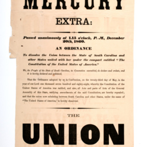 Charleston Mercury Extra: Passed unanimously at 1.15 o'clock, P.M., December 20th, 1860