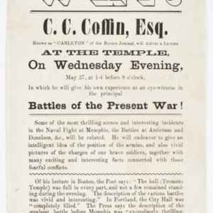 "Lecture On the War: C. C. Coffin, Esq. Known as ""Carleton"" of the Boston Journal"