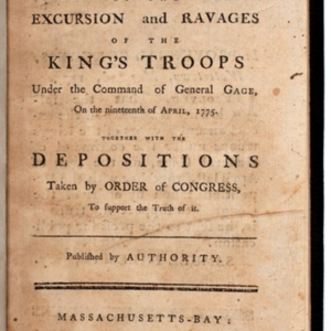 A Narrative, of the Excursion and Ravages of the King's Troops