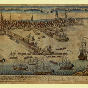 A View of Part of the Town of Boston in New-England and Brittish Ships of War: Landing Their Troops! 1768