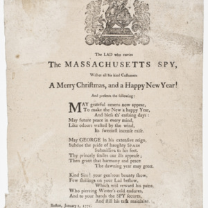 The LAD who carries The Massachusetts Spy, Wishes all his kind Customers A Merry Christmas, and a Happy New Year!