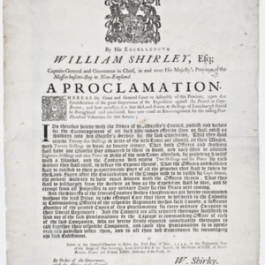By His Excellency William Shirley, Esq;...A Proclamation.
