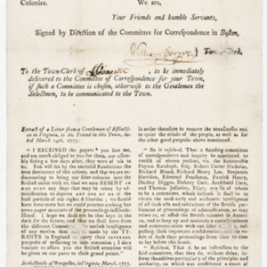 Boston, April 9, 1773. : Sir, The Committee of Correspondence of this Town have received the following Intelligence...