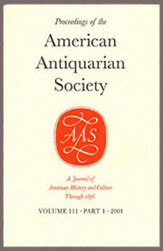 cover of the Proceedings of the American Antiquarian Society, vol. 107, part 2.