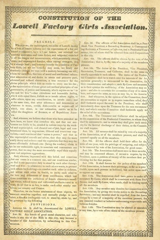 Constitution of the Lowell Factory Girls Association