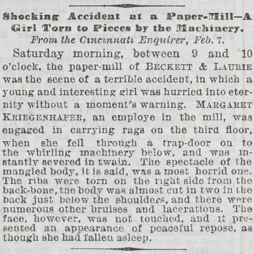 Shocking Accident at a Paper-Mill - A Girl Torn to Pieces by the Machinery