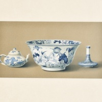 Plate LXVIII. Three specimens of blue and white. Rice bowl, water receptacle, miniature vase