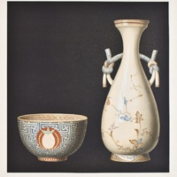 CVIII. Decorated teacup and vase of Satsuma ware
