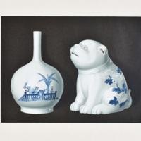 CX. Sake-bottle and censer of Hirado blue and white.