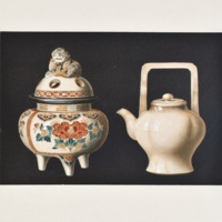 CI. Decorated censer and plain teapot of satsuma ware. Incense-burner and teapot.