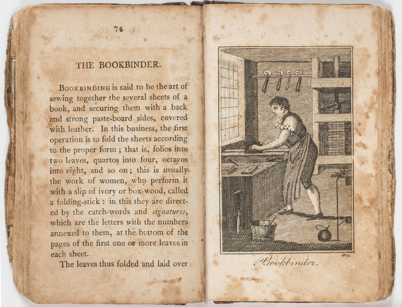 """The Bookbinder"" in Book of Trades, or Library of the Useful Arts."