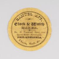 Samuel App, clock & watch maker. No. 46 Frankford Road, near Queen Street - Kensington, Philadelphia.