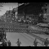 Soldiers marching in a parade, Worcester