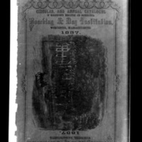 "Photograph of the cover of ""Circular and annual catalogue of Massachusetts Mercantile and Mathematical Boarding & Day Institution"" for 1857"