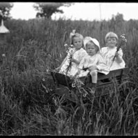 Virginia, Gretchen and Theodore Jr. in a wagon
